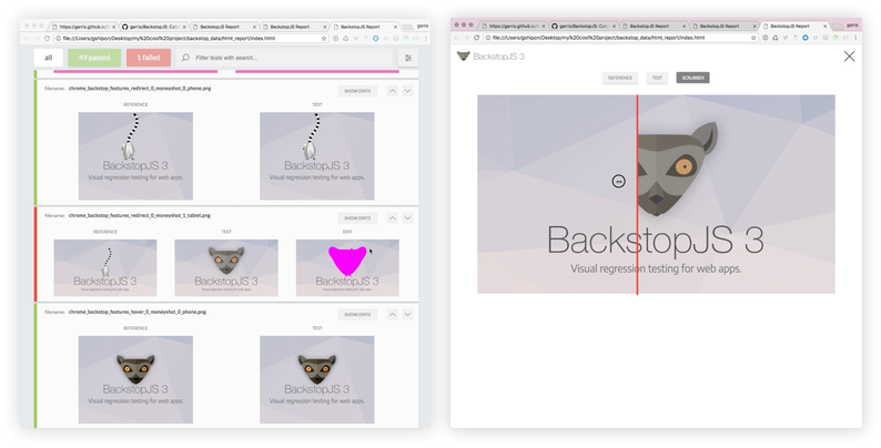 BackstopJS browser report